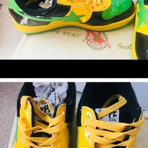 f0c46360a8430 Bape Shoes - JAMAICA GREEN YELLOW Kanye West BAPE STA SNEAKERS